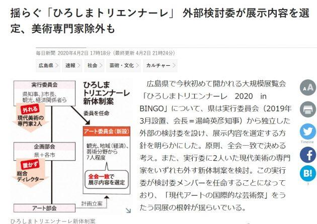 毎日新聞「ひろしまトリエンナーレ」記事2020 0402